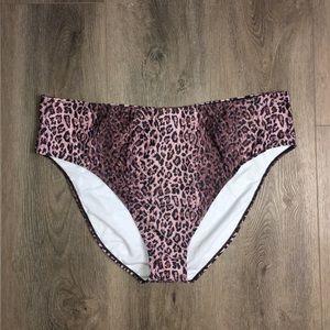Boohoo Pink Leopard High Waist Bikini Bottoms
